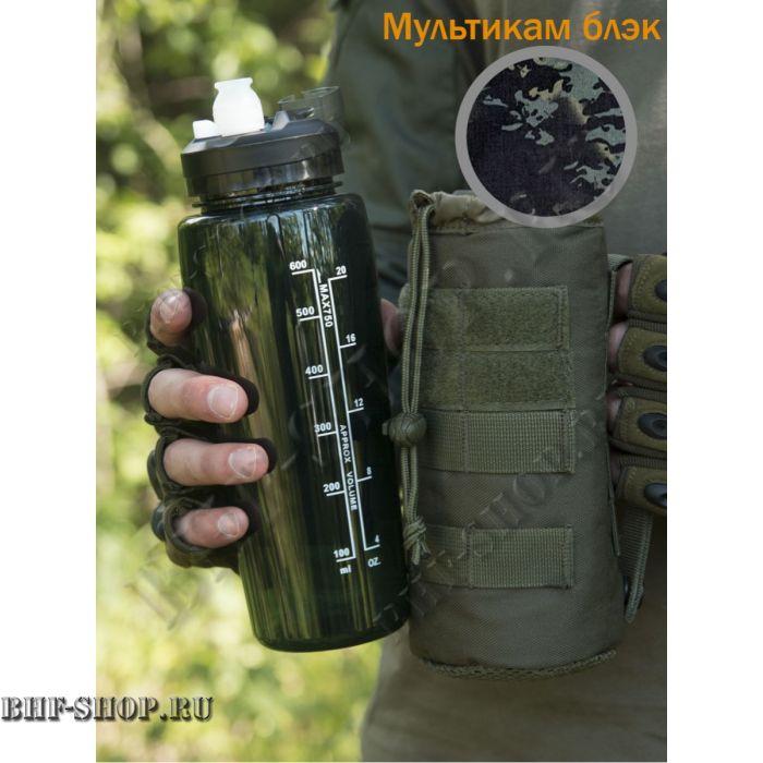 Фляжка-Бутылка GONGTEX с чехлом и креплением Черный мультикам
