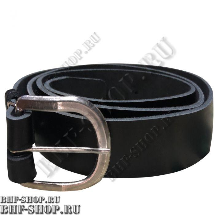 Ремень брючный 30мм кожаный черный